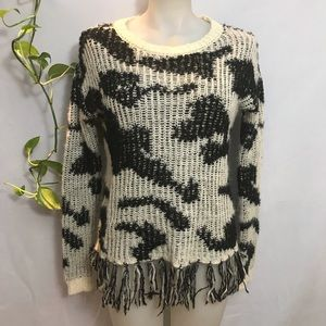 NWOT Trendy wool blend sweater with fringe